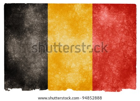 Grungy Belgian Flag on Vintage Paper - stock photo