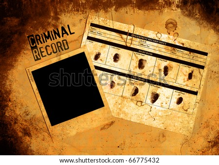 Grungy Blank Police Criminal Record File And Photo - stock photo