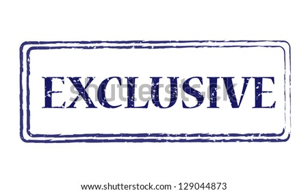 Grungy blue stamp for exclusive product - stock photo