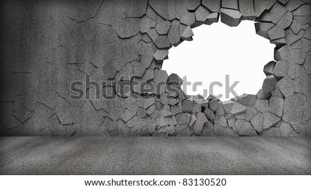 Grungy Broken Concrete Wall - stock photo