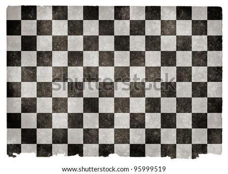 Grungy Checkered Flag on Vintage Paper - stock photo