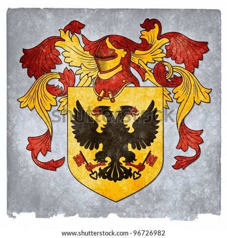 Grungy Coat of Arms with Double-Headed Byzantine Eagle - stock photo