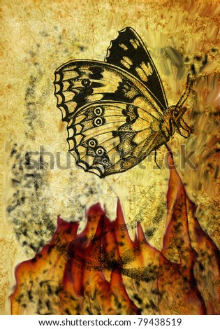 Grungy composition with butterfly - stock photo