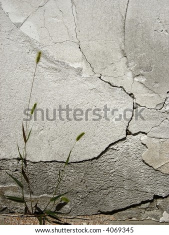 grungy cracked concrete wall - stock photo