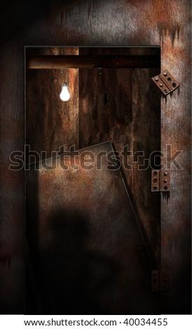 Grungy Decaying Doorway - stock photo