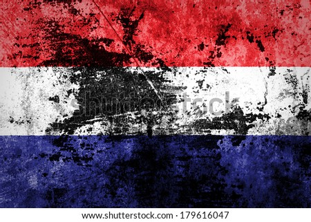 Grungy Dutch Flag on dirty paper  - stock photo