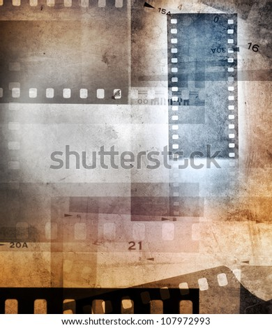Grungy film negative background, copy space - stock photo