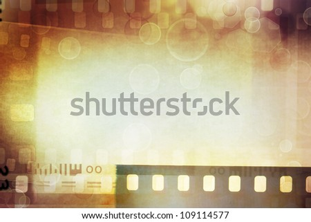 Grungy film negatives background, copy space - stock photo