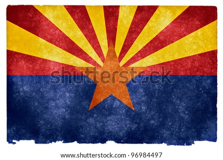 Grungy Flag of Arizona on VIntage Paper - stock photo