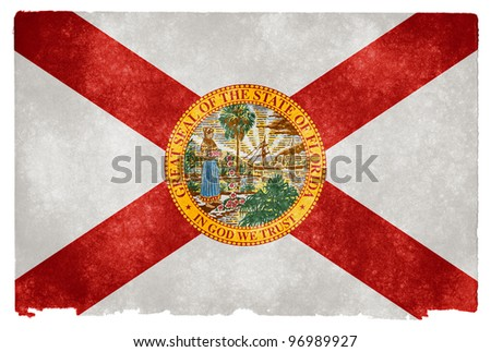 Grungy Flag of Florida on Vintage Paper - stock photo