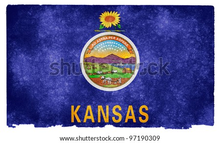 Grungy Flag of Kansas on Vintage Paper - stock photo