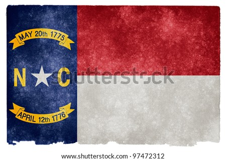Grungy Flag of North Carolina on Vintage Paper - stock photo