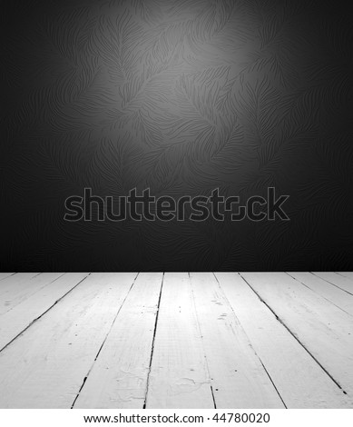 Grungy floor and luxury wallpaper it is empty interior - stock photo