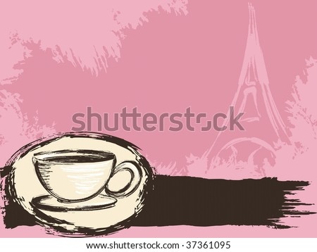 Grungy French coffee background (JPG); a vector version is also available - stock photo