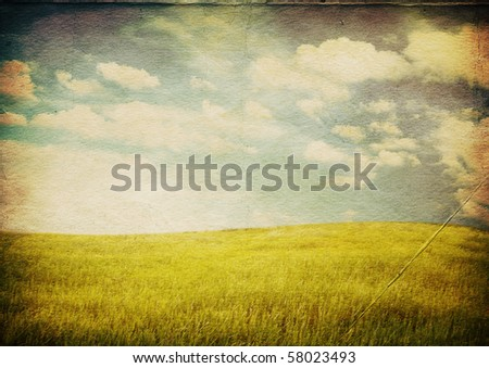 grungy illustration, beautiful summer landscape - stock photo