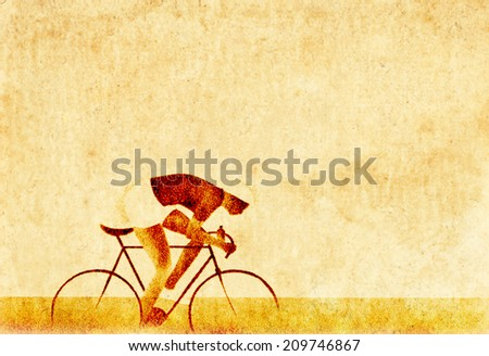 Grungy imprint of a cyclist on a vintage paper parchment with blank space for text. - stock photo