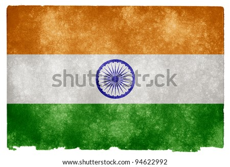 Grungy Indian Flag on Vintage Paper - stock photo