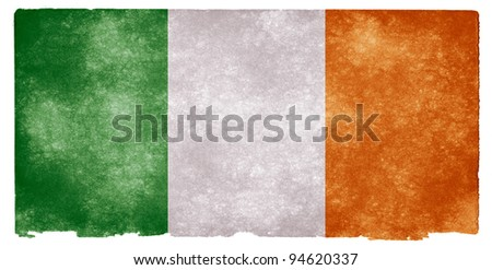 Grungy Irish Flag on Vintage Paper - stock photo
