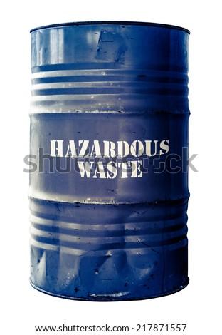 Grungy Isolated Drum Or Barrel Of hazardous Waste - stock photo