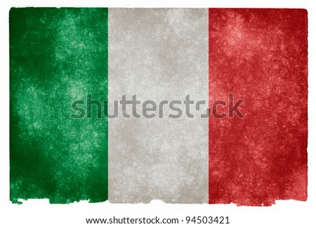 Grungy Italian Flag on Vintage Paper - stock photo