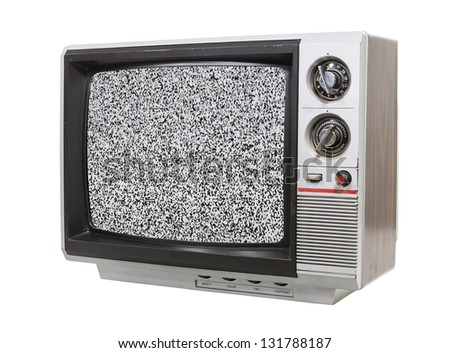 Grungy little television isolated with static screen. - stock photo
