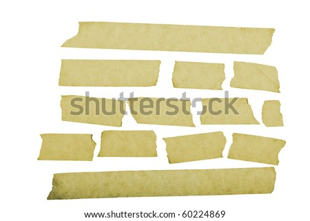 grungy looking masking tape close up isolated on white - stock photo
