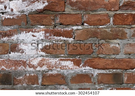 Grungy old rustic weathered brick wall detail backdrop or background. - stock photo
