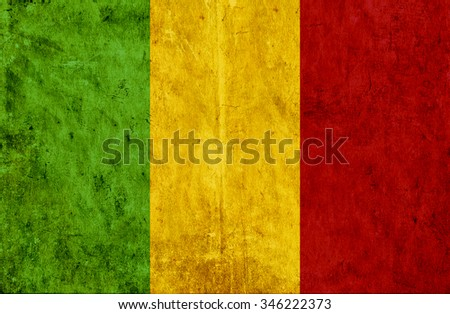 Grungy paper flag of Mali - stock photo