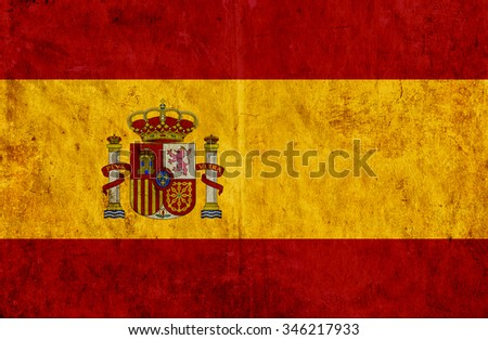 Grungy paper flag of Spain - stock photo