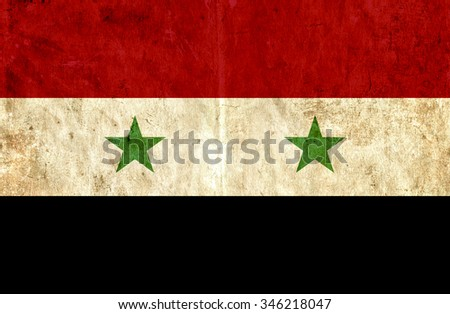 Grungy paper flag of Syria - stock photo