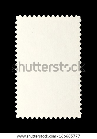 Grungy paper postage stamp with blank space for text, isolated against blank.  - stock photo