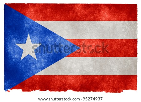 Grungy Puerto Rican Flag on Vintage Paper - stock photo