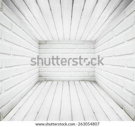 Grungy retro room brick wall with wood floor and ceiling texture background. - stock photo