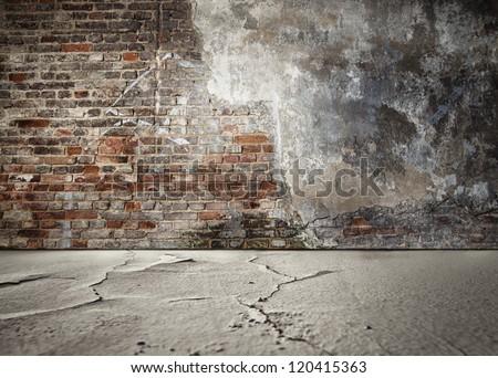 Grungy room with bricks  background. Abandoned interior - stock photo