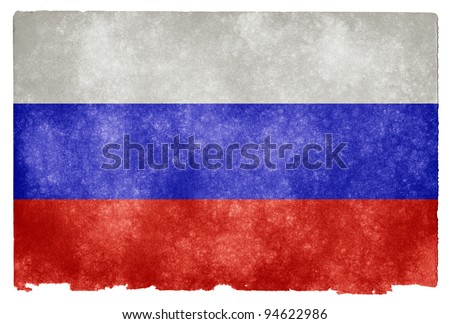 Grungy Russian Flag on Vintage Paper - stock photo