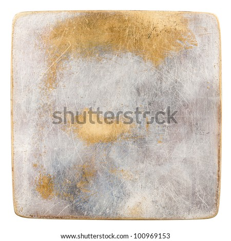 Grungy  scratched metal plate isolated on white - stock photo