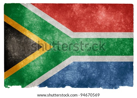 Grungy South African Flag on Vintage Paper - stock photo