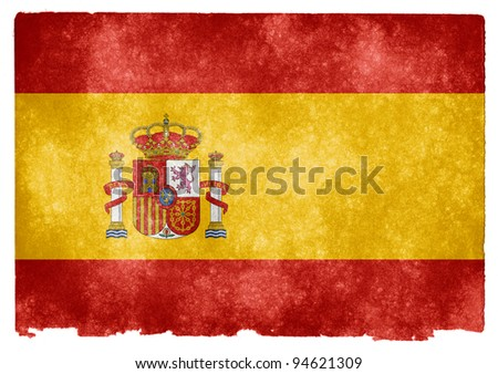 Grungy Spanish Flag on Vintage Paper - stock photo