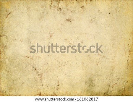 grungy stained old paper background - stock photo