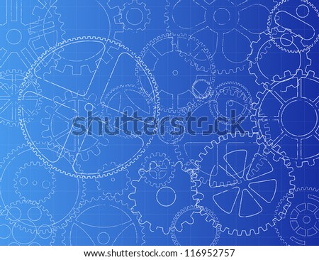 Grungy technical gears illustration on blue background - stock photo