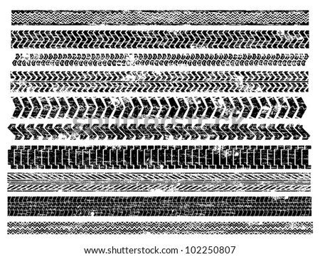Grungy truck and car tyre track illustrations - stock photo