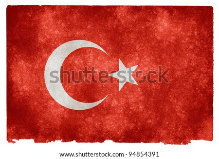 Grungy Turkish Flag on Vintage Paper - stock photo