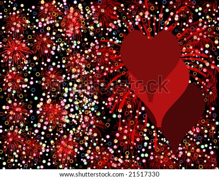 Grungy Valentine background with fireworks and colored circles - stock photo