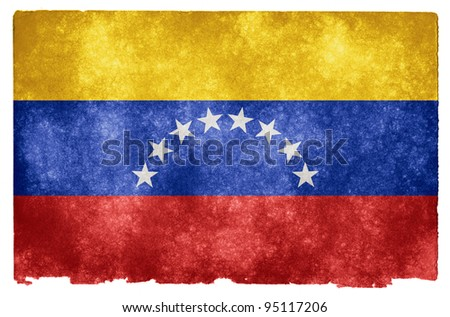 Grungy Venezuelan Flag on Vintage Paper - stock photo