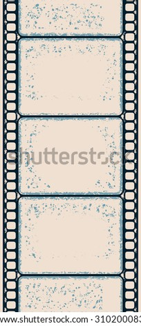 Grungy vertical retro poster with letterpress styled film strip - stock photo