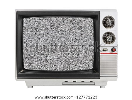 Grungy vintage portable television isolated with static screen and clipping path. - stock photo