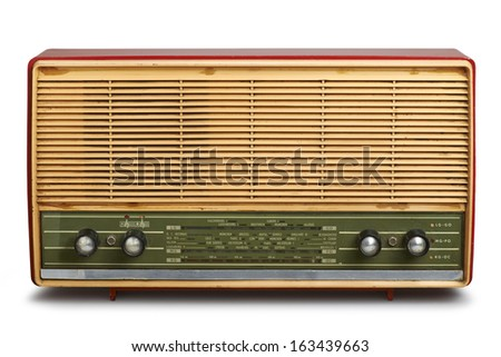 grungy vintage radio isolated (clipping path) - stock photo