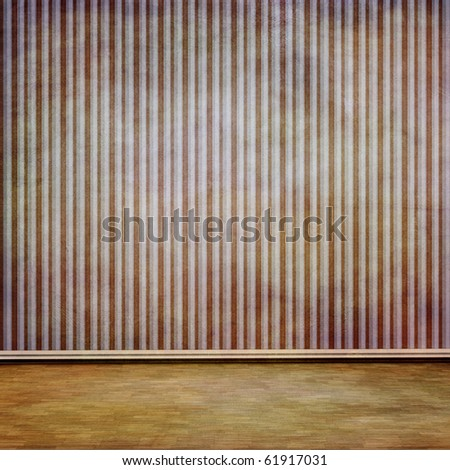 grungy wall and old wooden floor - stock photo