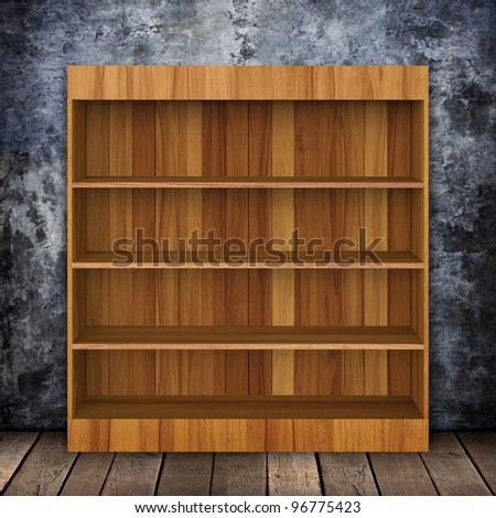 Grungy wall with Wooden book Shelf and Old wood background. - stock photo