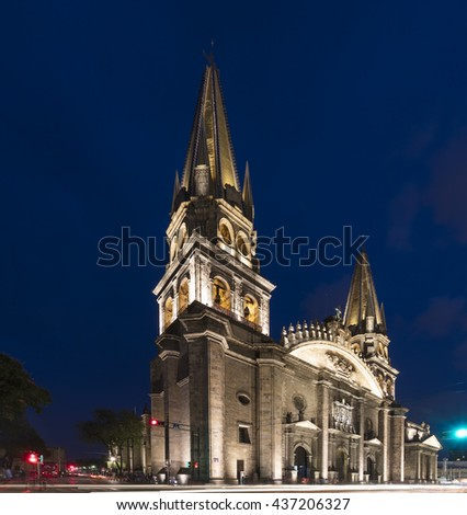 Guadalajara cathedral at night - stock photo